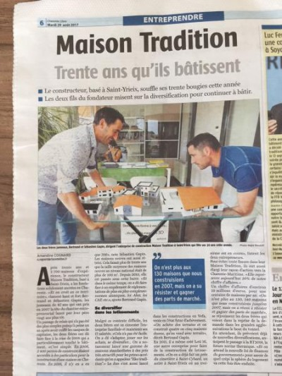 MAISON TRADITION à l'honneur dans la Charente Libre du mardi 29/08/2017