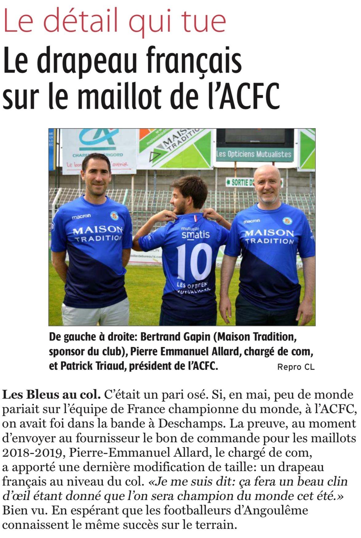 Le drapeau français sur le maillot de l'ACFC
