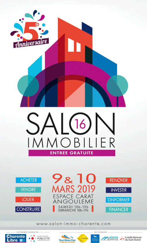 Salon Immobilier d'Angoulême à l'Espace Carat les 9 et 10 mars 2019. Stand N°16